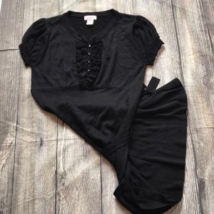 Lightweight black sweater-like dress.
